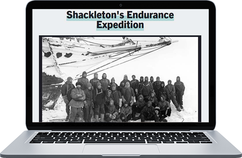 Explorer Ernest Shackleton with his team